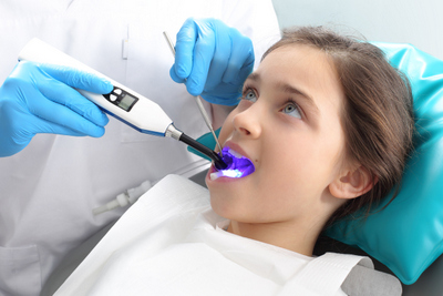 Pontotoc, MS girl receiving dental sealants at the dentist.